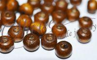 Margele din lemn maro 7x6x3 mm