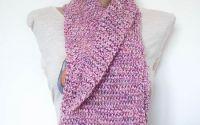 Fular circular tricotat Zambile - roz alb grena