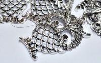 Pandantiv bufnita argintiu antichizat