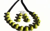 Colier si cercei din Onix negru si Turcoaz verde