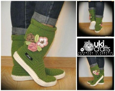 Cizme crosetate de strada Uki-Crafts-GO-Green