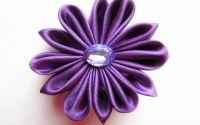 Purple Star  - floare textila kanzashi saten mov