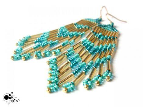 Turquoise Aqua and Gold Fringe Earrings