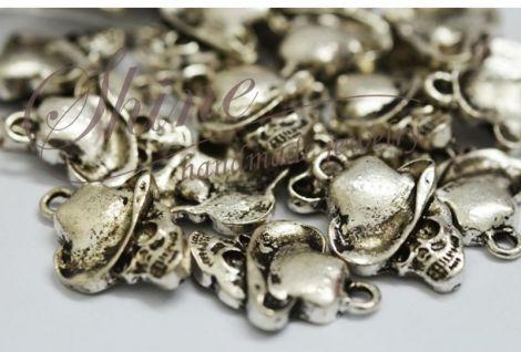 Pandantiv craniu cu palarie argintiu antichizat