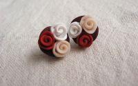 Cercei cu buchet de trandafiri cu rosu