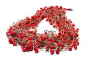 Colier matase bej si margele coral red CO034
