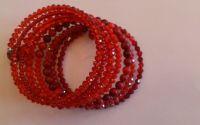 Bratara cu cristale rosii si coral rosu