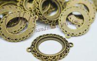 Link oval cu baza pentru lipire bronz antichizat