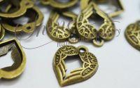 Pandantiv inima bronz antichizat 21x17mm