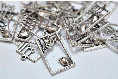 Pandantiv dreptunghiular cu randunica argintiu an