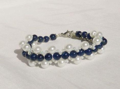 Bratara perle de sticla si cateye