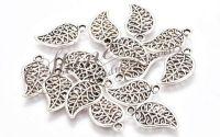 Charm frunza argintiu antichizat