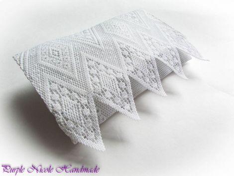 Snow - geanta plic dantela alba