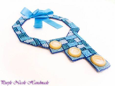 Mozaic - colier statement ocazie turcoaz bleu