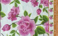 093 Servetel trandafir roz cu bordura portocalie
