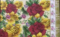 095 Servetel trandafiri rosii si galbeni