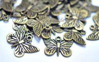Charm fluture bronz antichizat 22x16x2mm