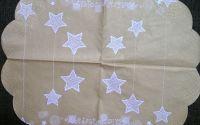 408 Servetel rotund auriu cu stelute albe