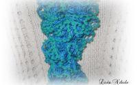 Esarfa-fular cu pamponase - Bleo-Turquoise