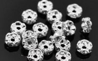 DISTANTIER ARGINTIU RHINESTONE 6MM  TRANSPARENT