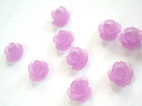 CABOCHON FLOARE FROSTED 10MM  MOV DESCHIS