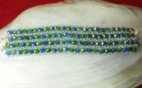 Bratara bleu-vert din margele de sticla