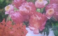 456 Servetel ghiveci cu trandafiri roz