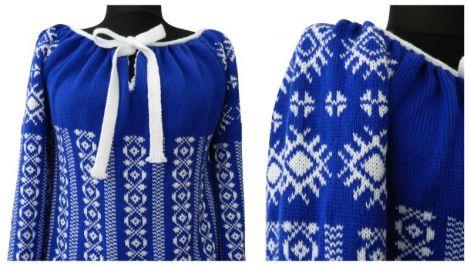 ie tricotata albastru-alb