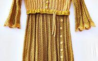 Rochie tricotata ocru-bej