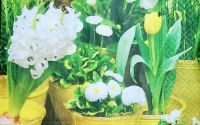 560 Servetel ghivece cu flori albe si galben