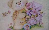 584 Servetel ursulet si roaba cu flori