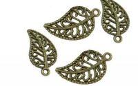 Charm frunza filigran bronz antichizat 10 x 19 mm