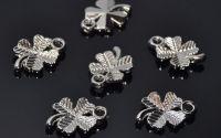 10 Charm trifoi norocos argintiu 15 x 10 mm