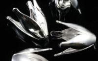 Capacele placate cu argint frunze conice 15 x 10mm