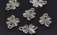 100 Charm trifoi norocos argintiu antichizat