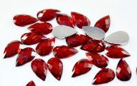 10 Margele imit cristal cabochon fatetat rosu