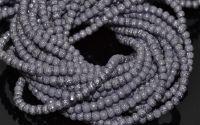 10 Perle sticla gofrate  4 mm - lavanda