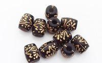 Margele negre cu accent auriu butoias 12 x 10 mm