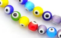 10buc margele sticla handmade evil eye rotunde 6mm