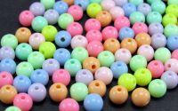 100buc Margele plastic rotunde pastel rece 6mm