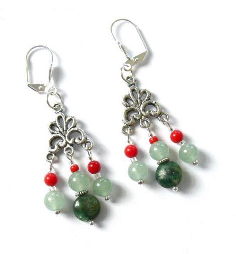 Cercei coral si Emerald Stone