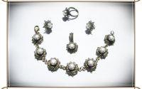 Set- perle albe de cultura si bronz