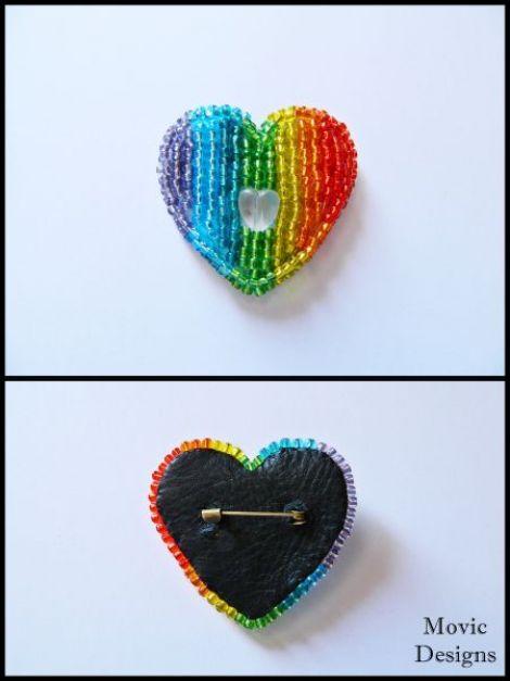 Pentru concursul Curcubeul - Brosa Rainbow Heart