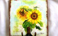 Cuier din lemn - floare soarelui -