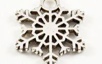 Pandantiv fulg de zapada argintiu 27 x 15 mm