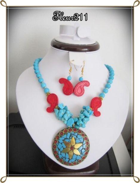 Set- turqoise si coralhowlit rosu