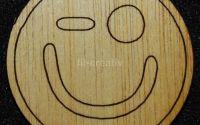 Figurina lemn pentru pictat Smiley sclipire -L0233