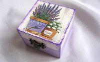 Cutie din lemn - lavanda -