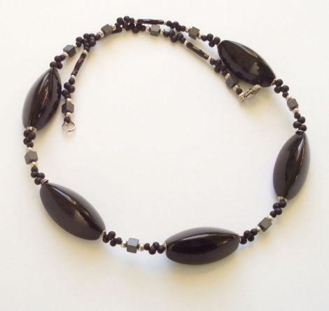 Colier obsidian Agnes