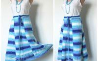 Fusta tricotata manual albastru alb turcoaz dungi
